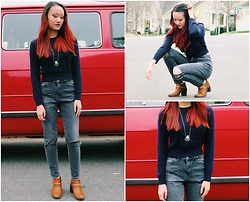 Laura Faith H. - American Apparel Cropped Sweater, H&M High Waisted Jeans, Forever 21 Ankle Boots - Gray & Blue