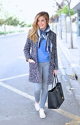 LOLA C - Sheinside Coat, Michael Kors Bag, Converse Sneakers - Mix n'blue