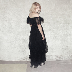 Monika Sekowska - Second Hand Shop Vintage Tulle Black Gown Dress, Second Hand Shop Chunky Black Platform Heels - Tim Burton style gown dress