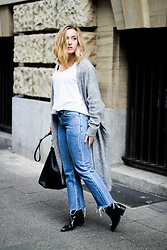 Viviane Lenders - Acne Studios Grey Mohair Cardigan, Mango Basic White Tee, Levi's® Denim Flares, Forever 21 Bucket Bag, Selected Pointed Ankle Boots - Flares, Cardi + Ankle Boots