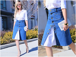 Lina Dinh -  - How to wear a skirt over a shirt dress