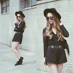 Julia Weber - Ami Clubwear Romper, Windsor Store Belt, Forever 21 Hat, Steve Madden Ankle Boots, Ray Ban Sunnies - Brooklyn Flashback