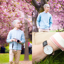 Dake Hu - Andreas Ingeman Watch, Zara Pants, Ben Sherman Shirt, Topman Sweatshirt - Cherry Blossom at the Brooklyn Botanic Garden