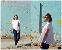 Piia Õ. - Cos Pleated Back Shirt, Guess High Waisted Jeans - Cos cos