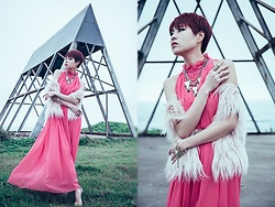 Sheena Son - H&M Statement Necklace, F21 Ring, Hermu Pink Faux Fur Vest, Choies Maxi Evening Dress In Chiffon - Shall We Dance?
