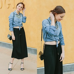 Susana Ares - Abercrombie & Fitch Denim Shirt, Zara Culottes, Michael Kors Clutch - New post: culottes + basics