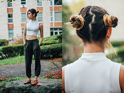 Karina C. - Forever 21 Mock Neck Crop Top, Garage Clothing Harem Pants, Forever 21 Criss Cross Sandals - May the Fourth be with you (Princess Leia Inspired Look)