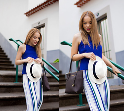Silver Girl - The White Company Panama Hat, Asos Striped Culottes, Michael Kors Leather Tote Bag, Asos Blue Sleeveless Top - SEA BREEZE