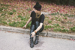 Allison C. - I'm With The Band Turban Headwrap, Urban Outfitters Distressed Shirt, American Eagle Outfitters Vegan Leather Leggings, Forever21 Studded Boots, Quiet Lion Creations Handmade Jewelry - Dead Leaves and the Dirty Ground
