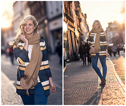 Lena B - Hallhuber Coat, Only Scarf, Topshop Jeans, Duo Boots, Chloé Bag - Striped Coat