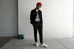 Dan Pantoja - American Apparel Red Cuffed Beanie, Topman Black Denim Jacket, Acne Studios Black Formal Trousers, Adidas Slip On Superstars - INSTAGRAM - @danpandan Δ