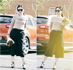 Katie - Club Monaco Top, & Other Stories Culottes, Aquazzura Shoes, Karen Walker Sunglasses - Ins: Katie_AvecChic