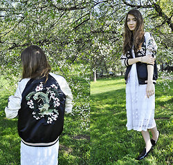 Alexandra M. - Stradivarius Embroidered Bomber Jacket, Zara Black Loafers - Floral swimming pool