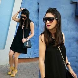 Anyelina G. - Forever 21 Lace Up Dress, Shoedazzle Bag, Shoedazzle Yellow Lace Up Heels - Lace Up Dress and Half Bun