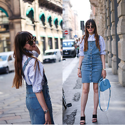 Iris Www.adashoffash.com - Object Denim Dungaree Dress, Other Stories Blue Handbag, Prada Sunglasses, More Details - Denim dungaree dress