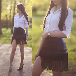 Ariadna Majewska - White Shirt, Black Leather Skirt, Wolford Nude Tights - Black and white