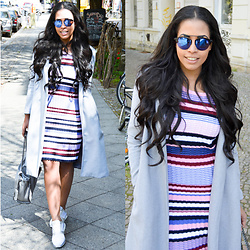 Chiara Culture With Coco - Missguided Dior So Real Inspired Sunglasses, Na Kd Knitted Striped Dress, Sheinside Long Grey Coat, Hallhuber Stella Mccatnes Falabella Inspired Bag, Bullboxer Silver Sequin Glitter Sneakers - Knitted Striped Dress