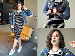 Joyce Nunes - Forever 21 Patches Denim Jacket, Forever 21 Ribbed Striped Midi Dress, Forever 21 Grey Bag, Adidas Glitter Superstar Sneaker - Patches