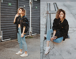 Angela Doe - Monki Mom Jeans, All Star Chucks Shoes, Vintage Jacket - Frank