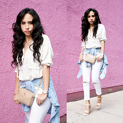 Attalia DASBEL - Zara Blouse, Zara Denim, Bershka Jeans, Michael Kors Bag - THE PINK WALL