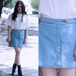 Marifer Rocha - Zara Denim Skirt, Zara Boots - Denim Skirt