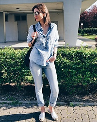 Elle de Strasbourg - Dolce & Gabbana Sun Glasses, Mango Denim Shirt, Mango Jeans, Bag - MANGO denim total look