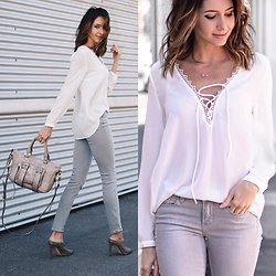 Amber - Wyldr Lace Up Blouse, Paige Denim Grey, She + Lo Purse - Lace up