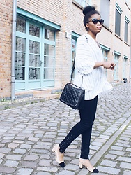 Nelly Negret - Bag, Jeans, Sunnies, Blouse, Chanel Slingback Look Alike - Chanel Slingbacks with Stripes and black