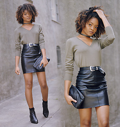 Alicia Nicholls - Banana Republic Merino Wool Trapeze Pullover, Missguided Faux Leather Mini Skirt, Asos Western Tip Leather Belt, Baggu Small Leather Clutch - Tough Sweater