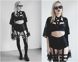 Hayley Evans - Teale Coco The Brand Pentagram Harness, Zero Uv Cross My Heart Sunglasses, American Apparel Disco Shorts, Unif Reverb Boots, Yandy Strappy Leggings - Tending the Bones