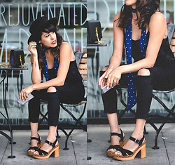 Francesca Felix - Jeffrey Campbell Sandals, Forever 21 Ripped Jeans, Freepeople Skinny Scarf - All black