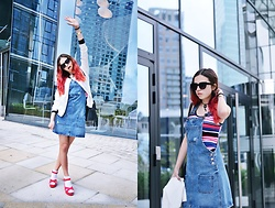 Ola Brzeska - New Look Bomber Jacket, New Look Pinafore Dress, New Look Sandals, New Look Tassel Bag, New Look Striped Body - New Look party