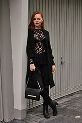 Jana W - H&M Lace Blouse, Primark Coat, Primark Bag - All Black For Adele