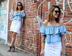 Anik L.R. - Zara Off The Shoulder Top, Mavi White Denim Skirt, Jenny Bird X Indigo Necklace, Call It Spring Sandals - Off the shoulder