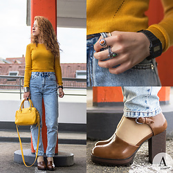 Diana Manolova - H&M Cropped Mustard Sweater, Mango Mini Bowling Bag, Casio Watch, Pull & Bear High Heel Mary Janes, Pull & Bear Mom's Jeans, Bershka Rings - Vintage Urban Vibes