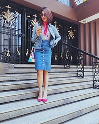 Cassey Cakes - Forever 21 Denim Skirt, Mango Distressed Denim Jacket, H&M Scarf, H&M Red Pumps - Red x Denim