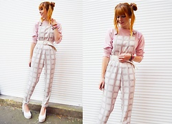 Malin Rouge - Topshop White Checkered Dungarees, American Apparel Pink Sweatshirt, Office London White Platform Heels - Soft