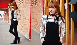 Malin Rouge - Esprit Striped Top, Vagabond Patent Leather Loafers - Velvety dungarees