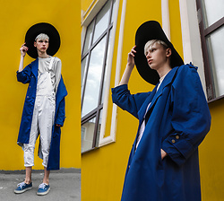 Egor Svetsky - Monki Hat, Monki Top, Zara Overall, Vintage Coat, Vans Shoes - BLUE & YELLOW