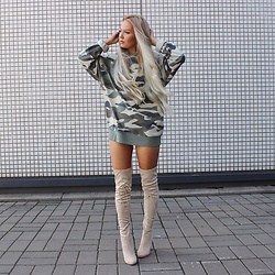 Eeva K. - H&M Camouflage Sweater, Ego Over The Knee Boots - Camo X Nude
