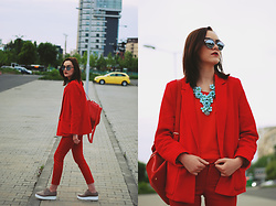 Andreea Birsan - Christian Dior So Real Sunglasses, H&M Statement Necklace, Zara Red Tank Top, Mango Red Blazer, Jolly Chic Red Backpack, Mango Red Cropped Trousers, Nude Platform Shoes - The urban red outfit
