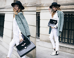 Bea G - Suede Jacket, Jeans, Bag, Shoes - White & Suede