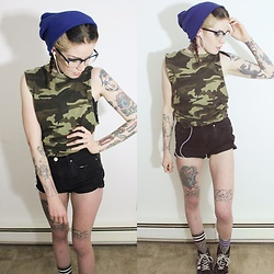 Meggy Whynot - Forever 21 Camo Top, Target Blue Beanie - Banged Up Knees