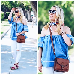 Zia Domic - Sheinside Off Shoulder Top, Free People White Jeans - White & Blue