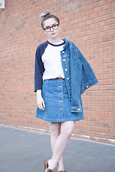 Tessa Holly - Primark Denim Jacket, American Apparel Baseball Top - Double Denim