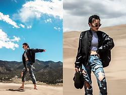 Pxkin - Black Bomber Jacket, Distressed Denim, Express Stripe Crop Top, Sunglasses - The Great Sand Dunes