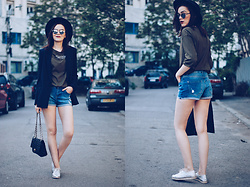 Andreea Birsan - Koton Black Hat, Christian Dior So Real Sunglasses, Zara Khaki Shirt, Mango Pinstripe Blazer, Black Leather Bag, Silver Metallic Shoes - Denim shorts weather