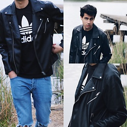 James Adams - H&M Black Leather Jacket, Adidas Black White Originals Shirt, Topman Blue Denim Ripped Jenas - Leather Jacket x Adidas Originals