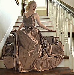 Erin Smith - Vintage Bias Cut Liquid Satin Evening Gown - The French Room