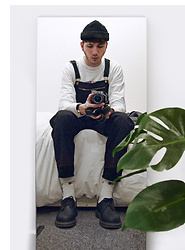 David Whitfield - American Apparel Beanie, Supreme, American Apparel Dungarees, Dr. Martens For Life - Instagram: dvd_ian